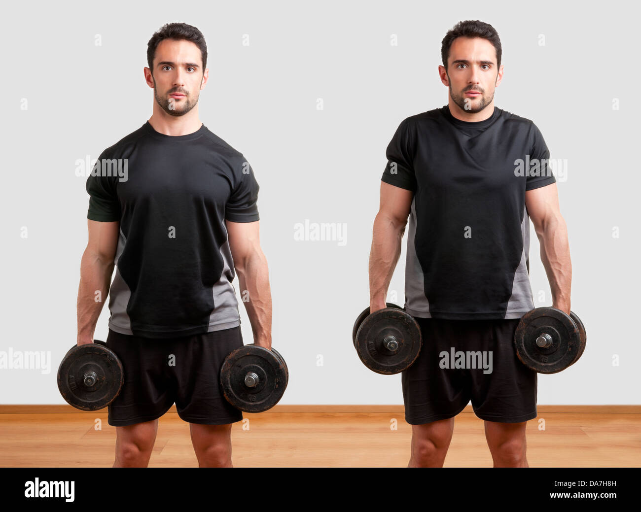 Personal Trainer doing dumbbel shrugs for training his trapezius - Stock Image