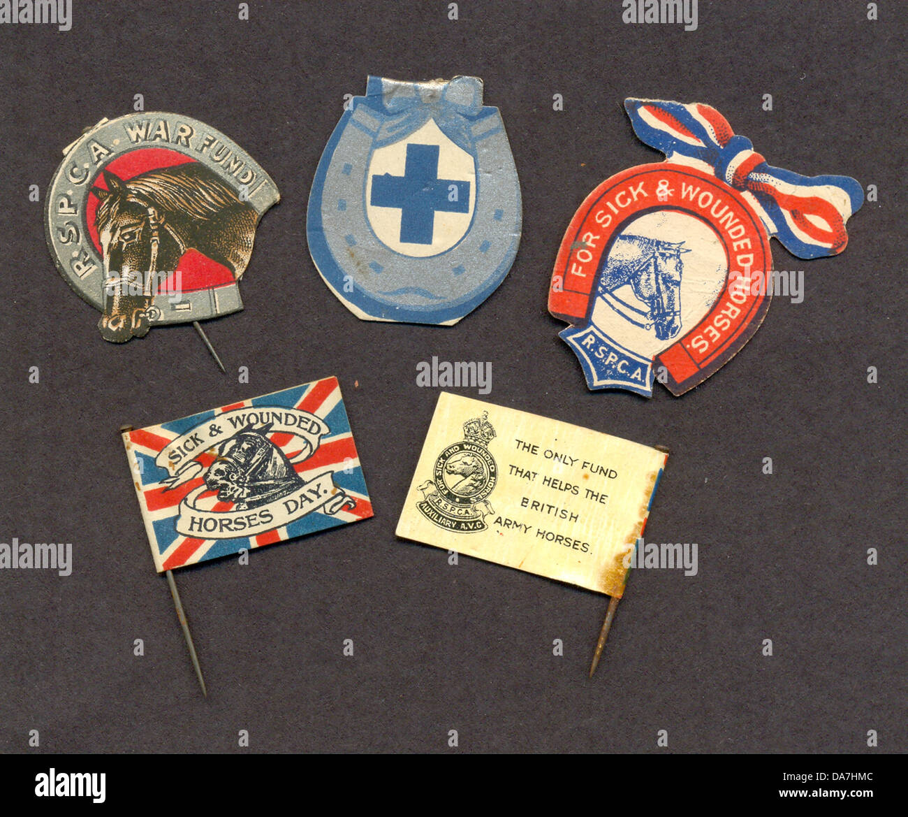 World War One charity flag day emblems for army horses - Stock Image
