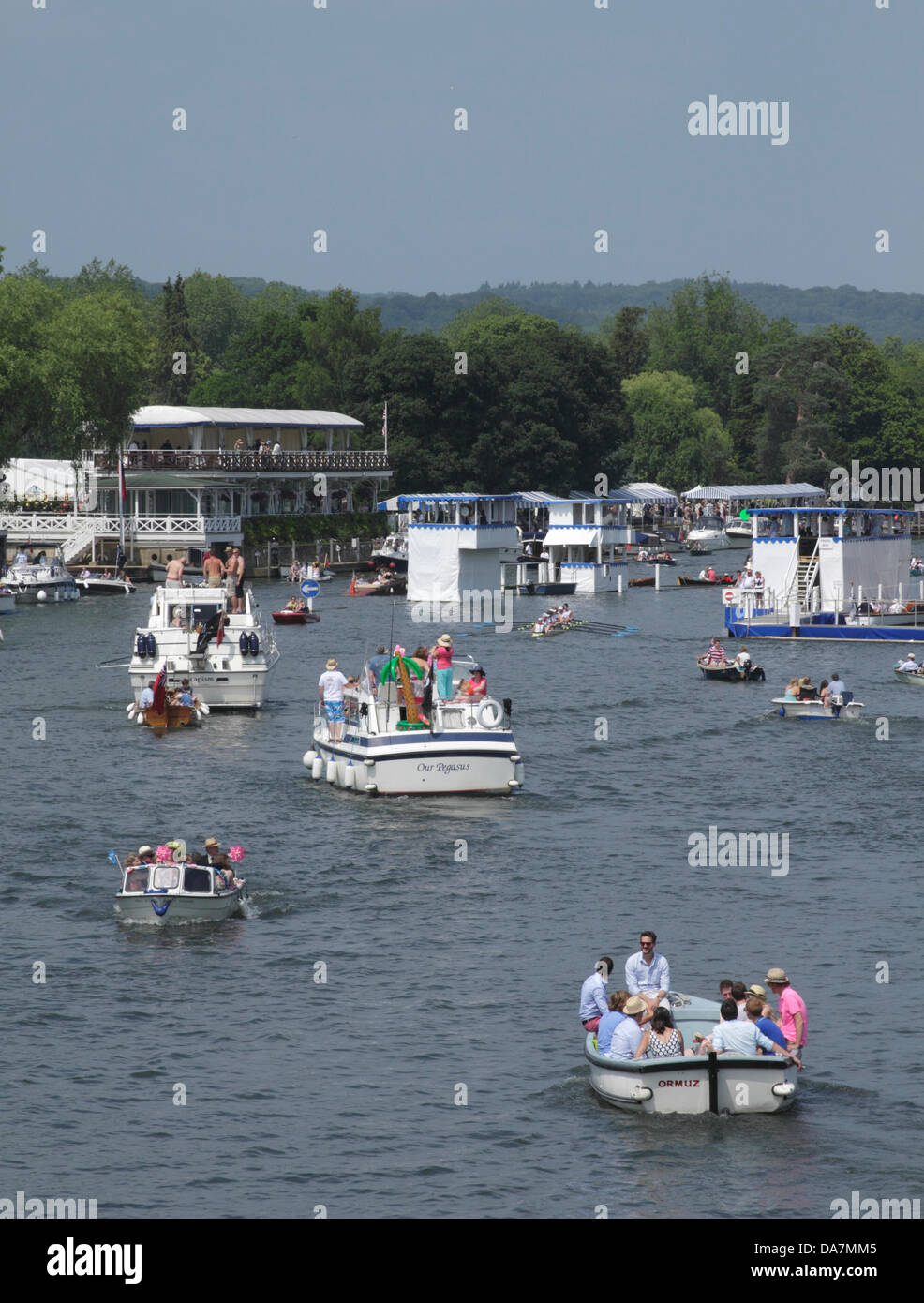 Henley, UK. 6th July, 2013. Pleasure boats at the Henley Royal Regatta River Thames Oxfordshire. - Stock Image