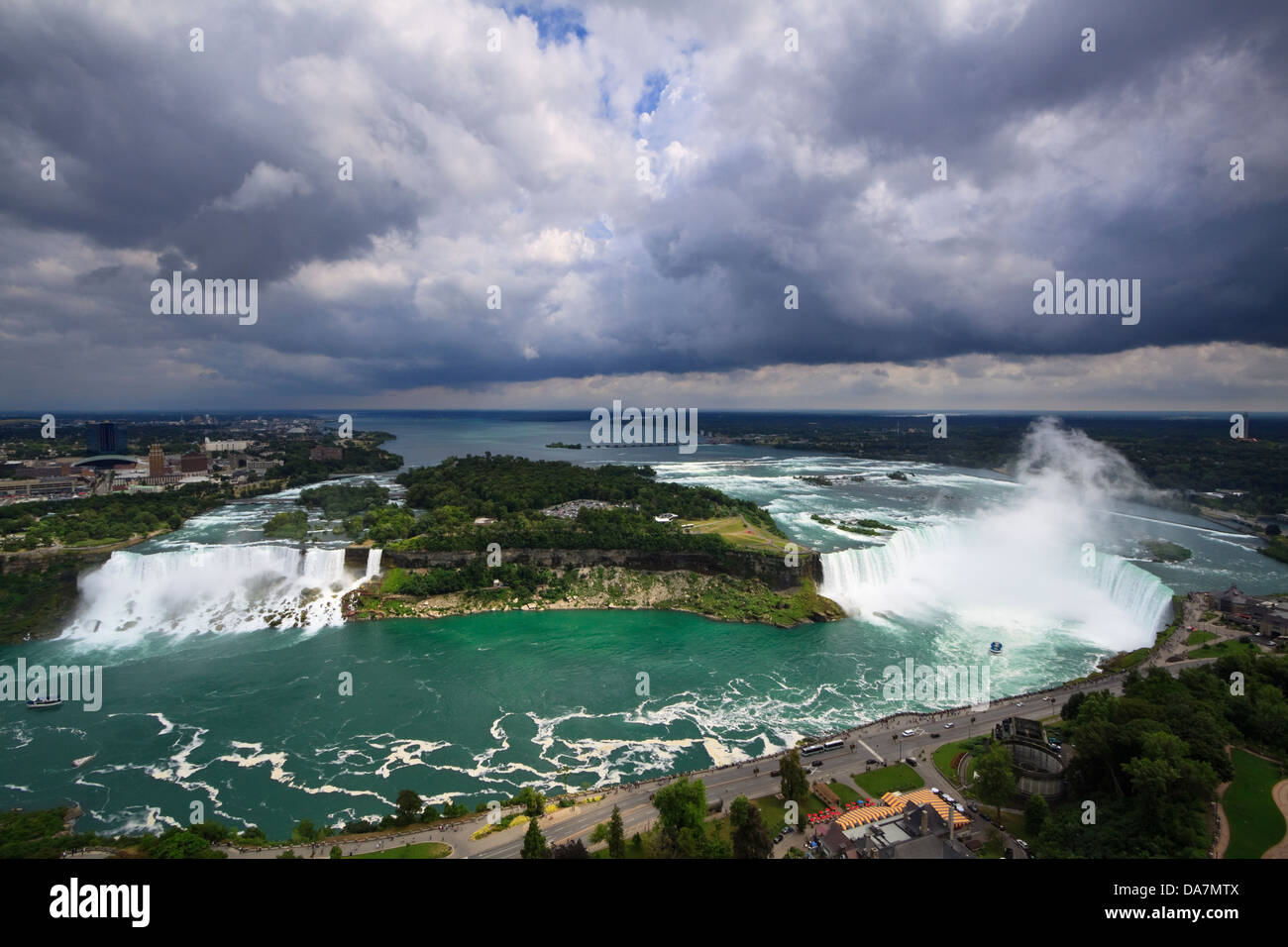 Aerial view of Niagara Falls from the Canadian side - Stock Image