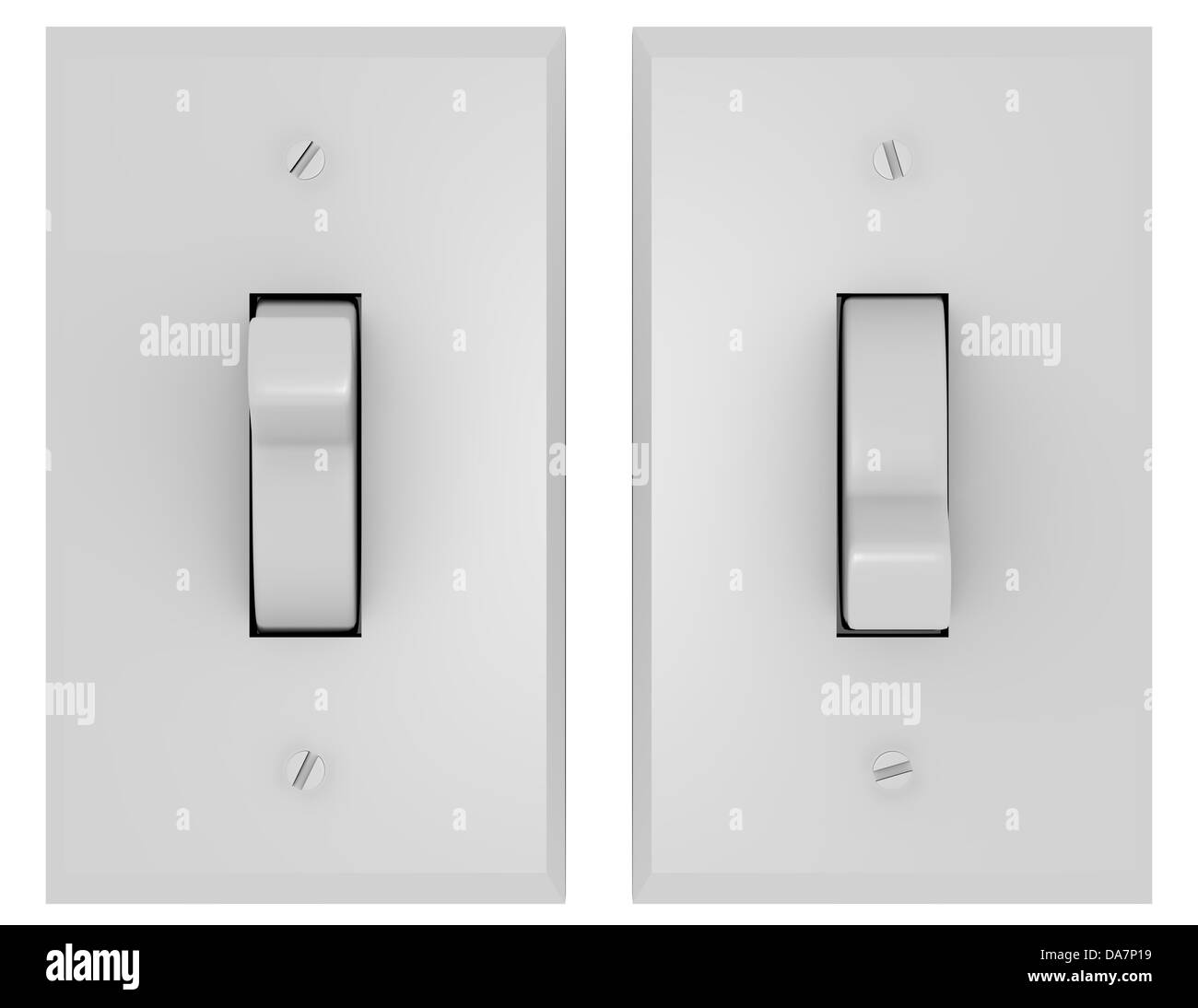 3d Render of a Pair of Light Switches - Stock Image