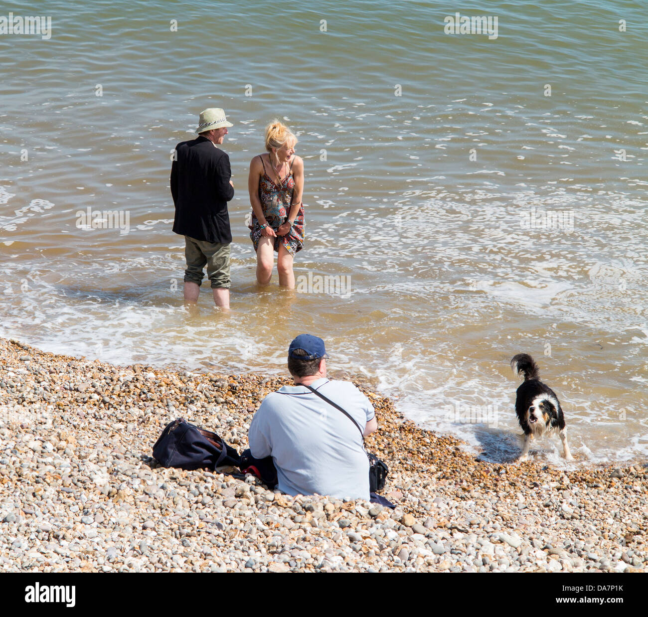 Friday 5th July. As a heatwave hits Britain, people and dogs take time to enjoy the seaside and cool off at Sidmouth, - Stock Image