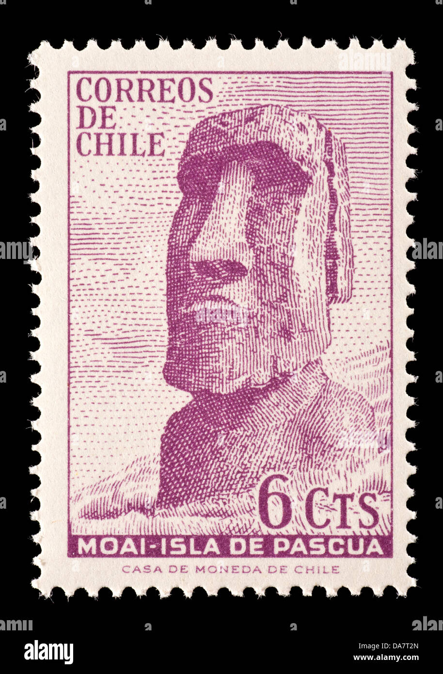 Postage Stamp From Chile Depicting Moai On Easter Island