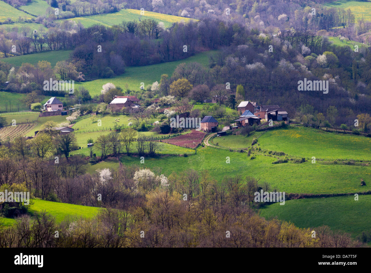 Bucolic landscape with hilly pastures and farmhouses in Midi-Pyrenees region of France - Stock Image