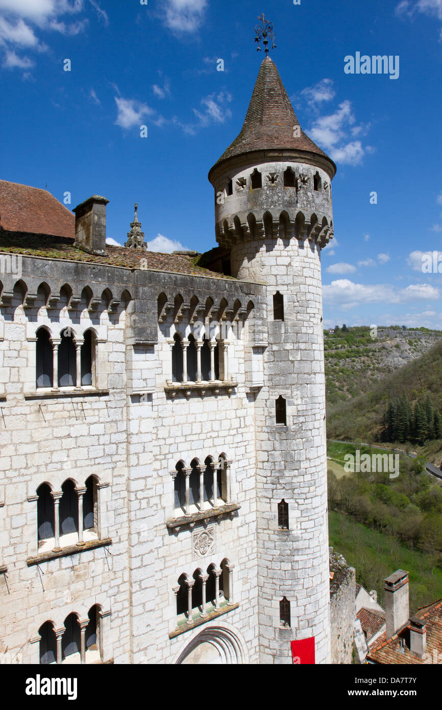 View of Basilica of St-Sauveur with turret in Rocamadour, France - Stock Image