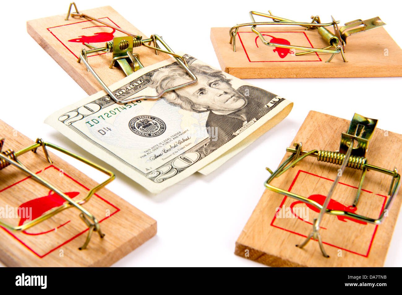 Concept photo for the expression money trap - Stock Image