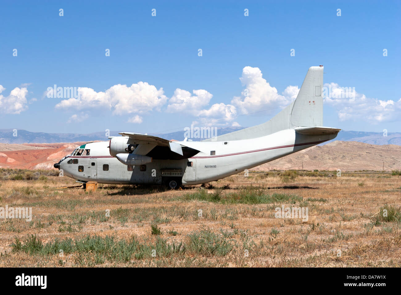 Fairchild C-123 Provider sits on the Hawkins & Powers storage area in Greybull, Wyoming. - Stock Image