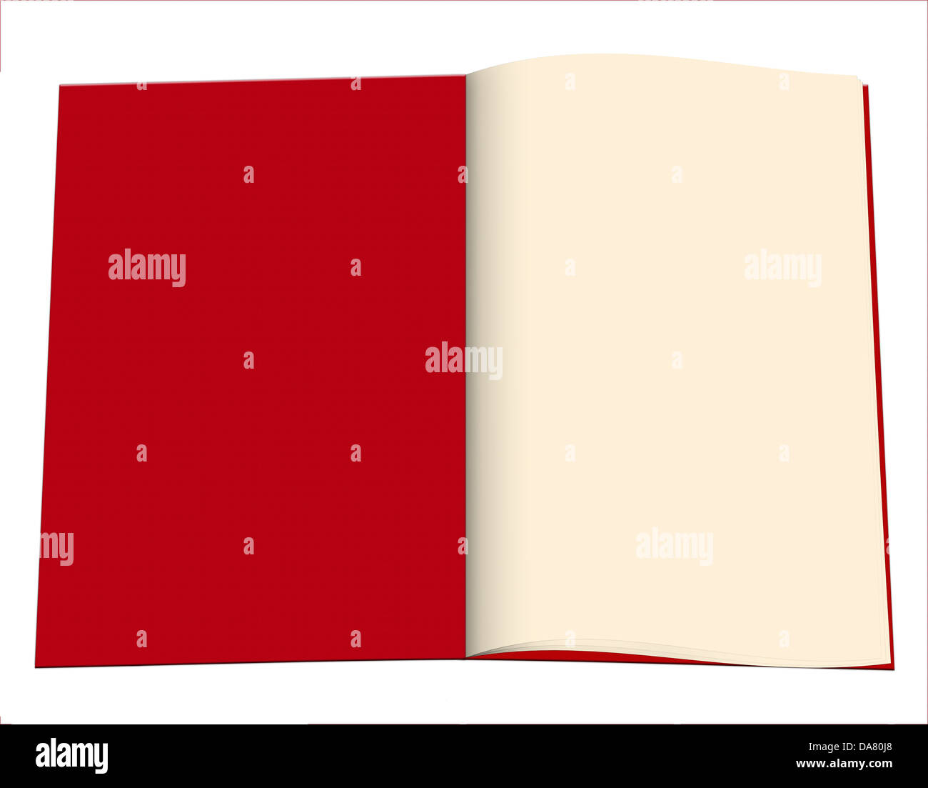 Exercise book with red cover - plain paper - Stock Image