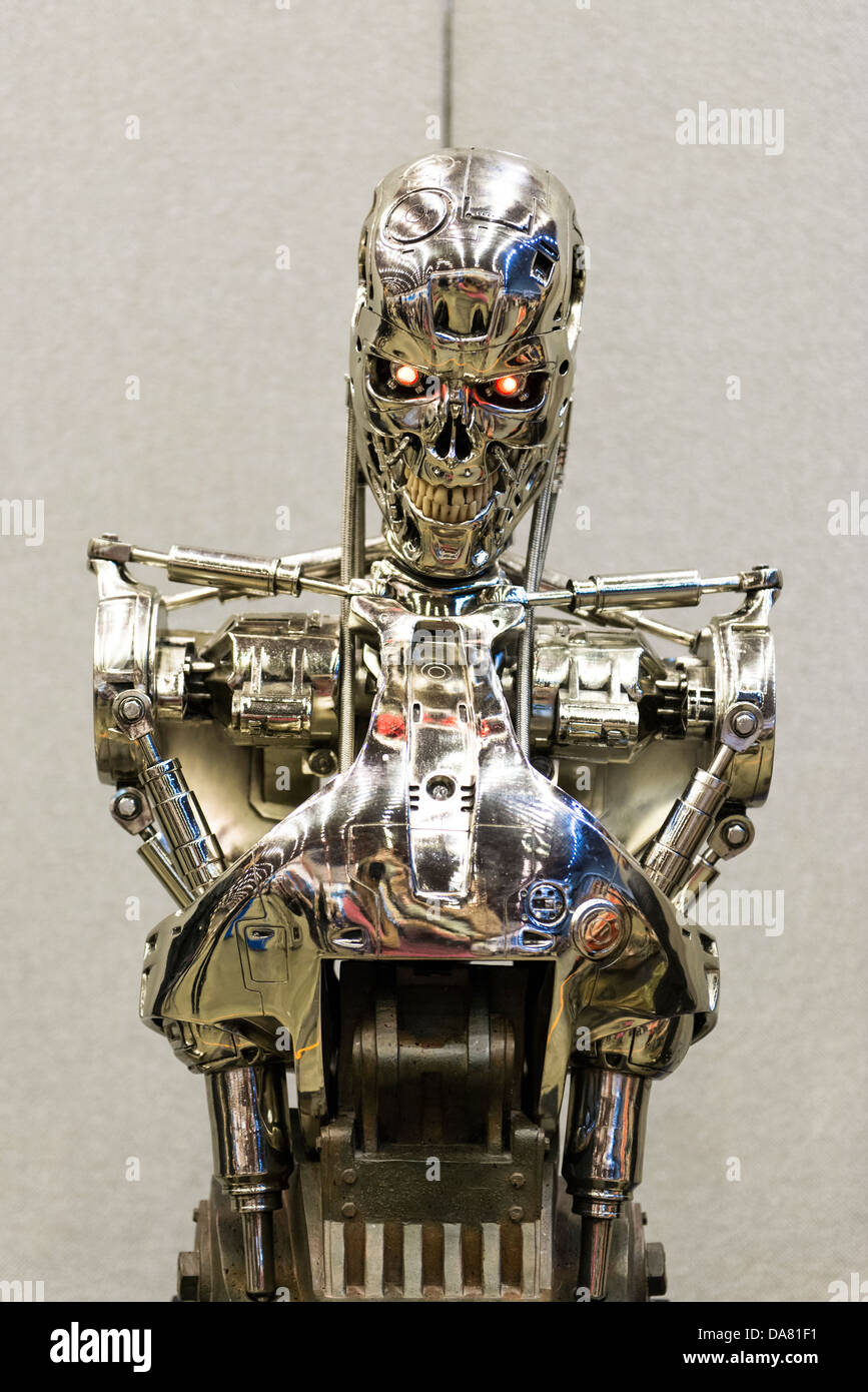 LONDON, UK - JULY 06: Replica of Terminator 2 killer robot at the London Film and Comic Convention at Earls Court - Stock Image