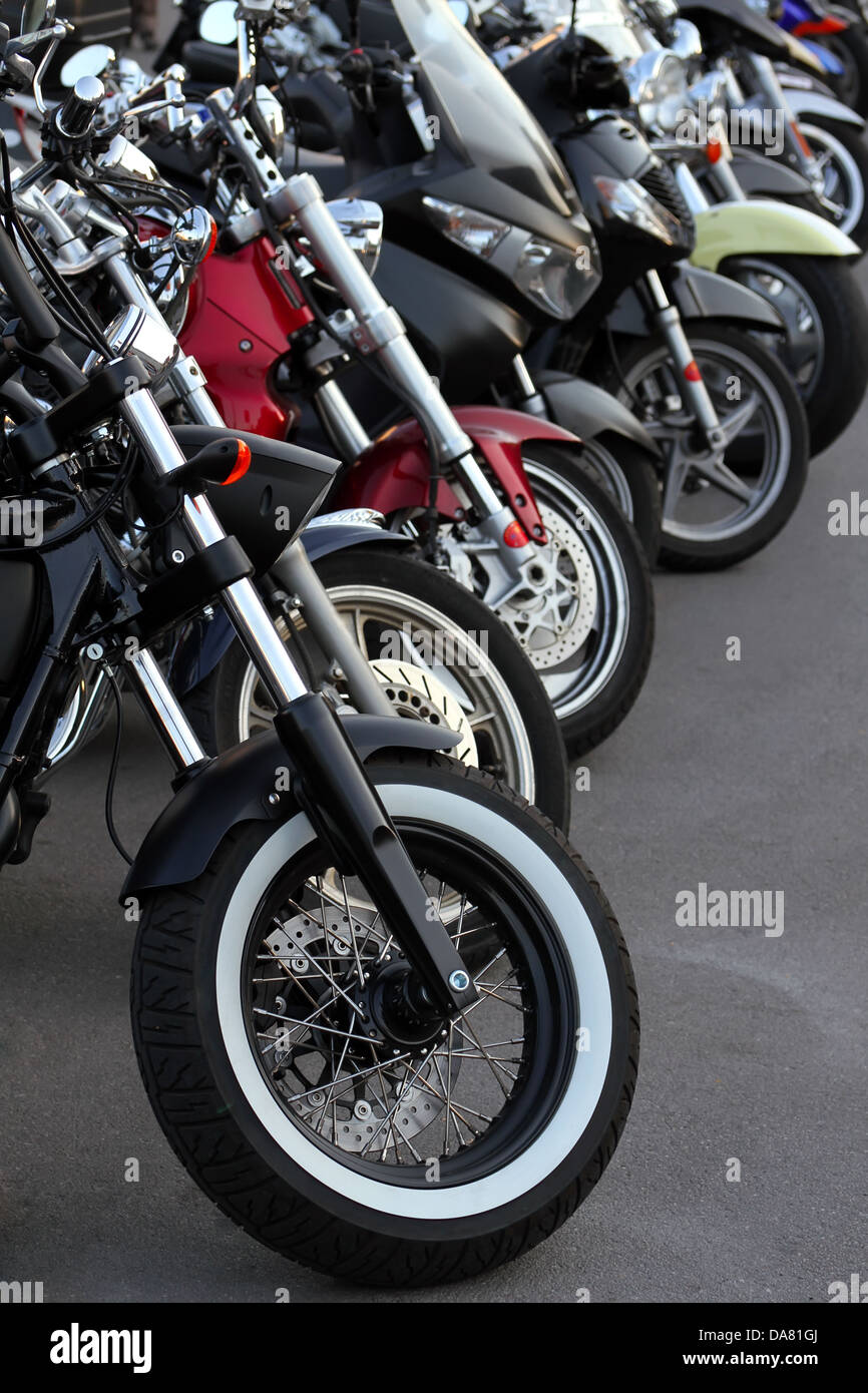 Motobikes in a row. - Stock Image