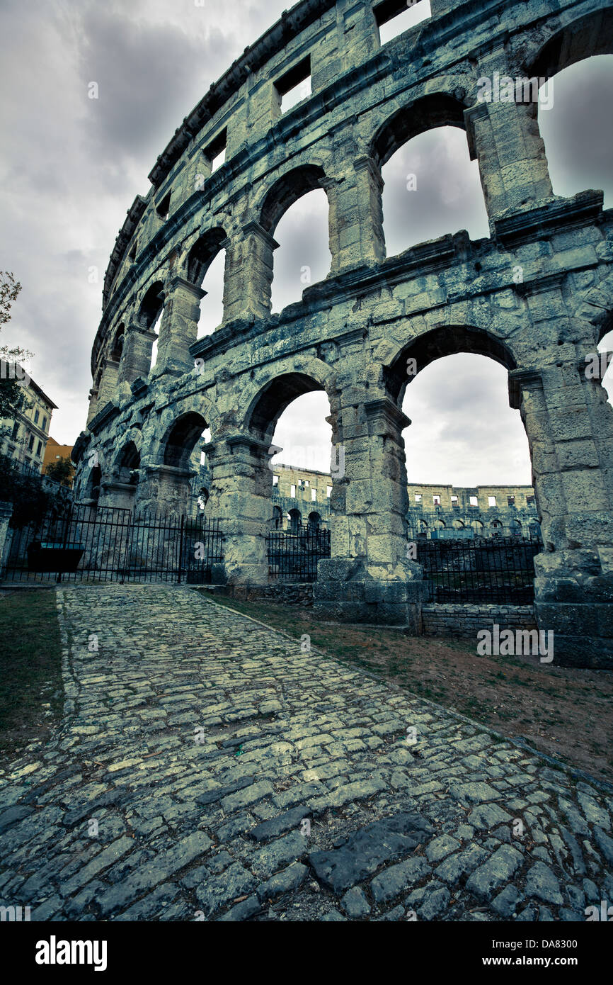 ancient Roman amphitheater coloseum in Pula, Croatia - Stock Image