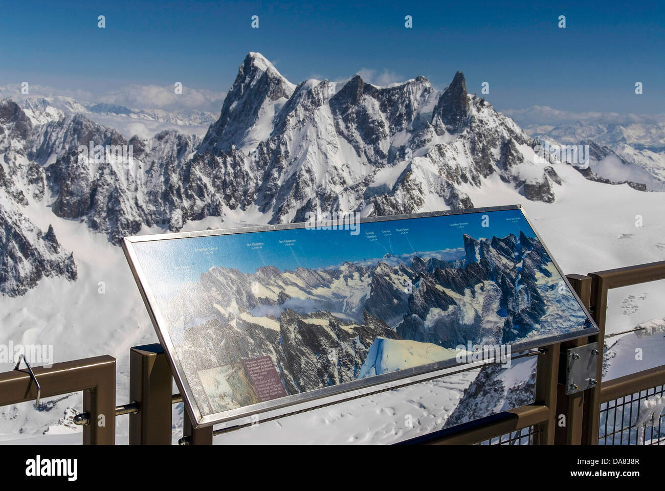 Viewpoint on the summit of the Aiguille du Midi, Chamonix Mont Blanc, France, cable-car - Stock Image