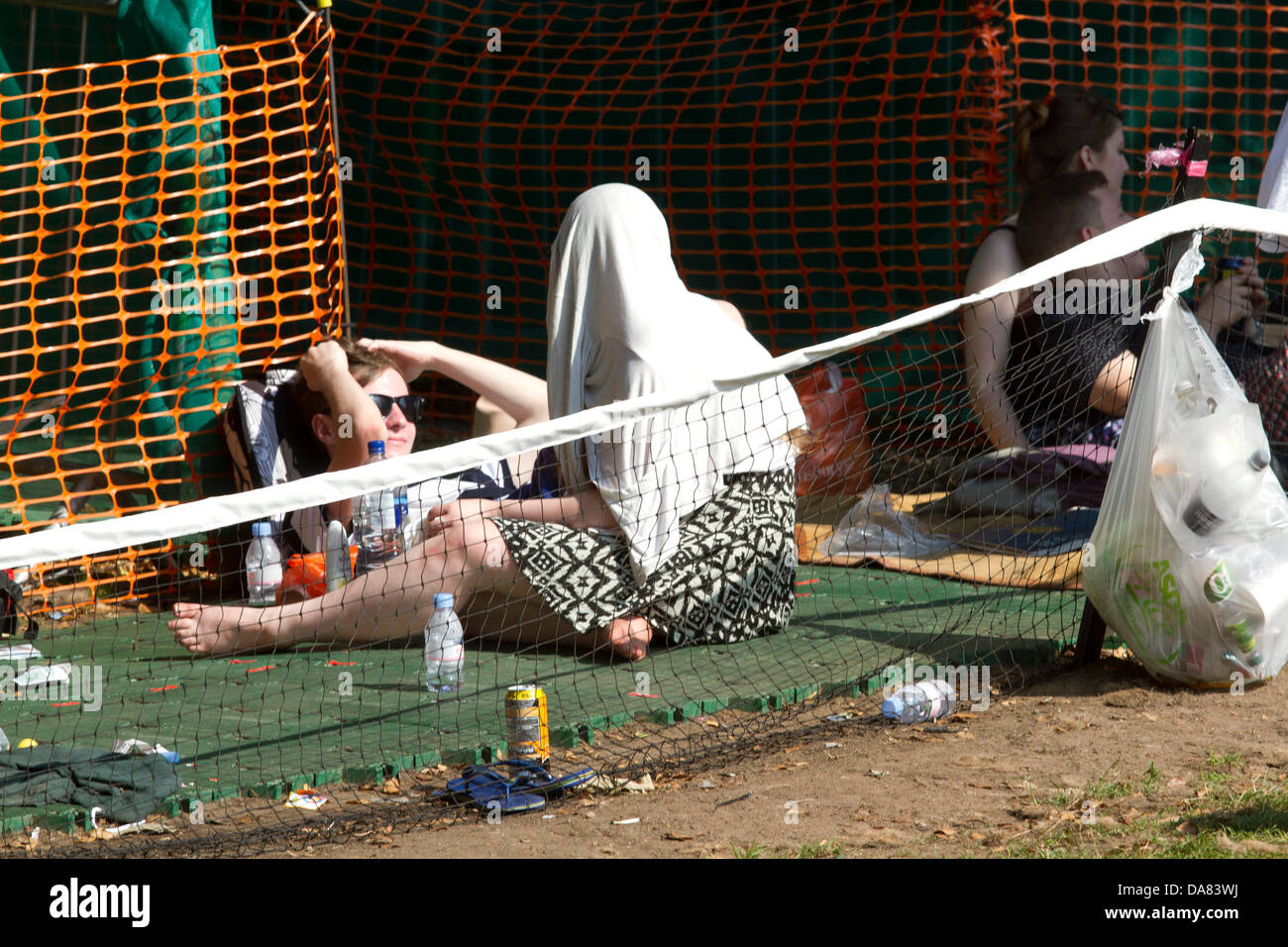 7th July 2013. Wimbledon London UK. Thousands of fans camp out for ground tickets to watch the men's final between - Stock Image