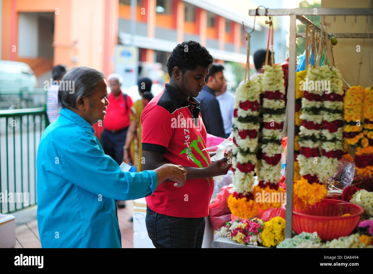 Flower Worker Little India Singapore - Stock Image