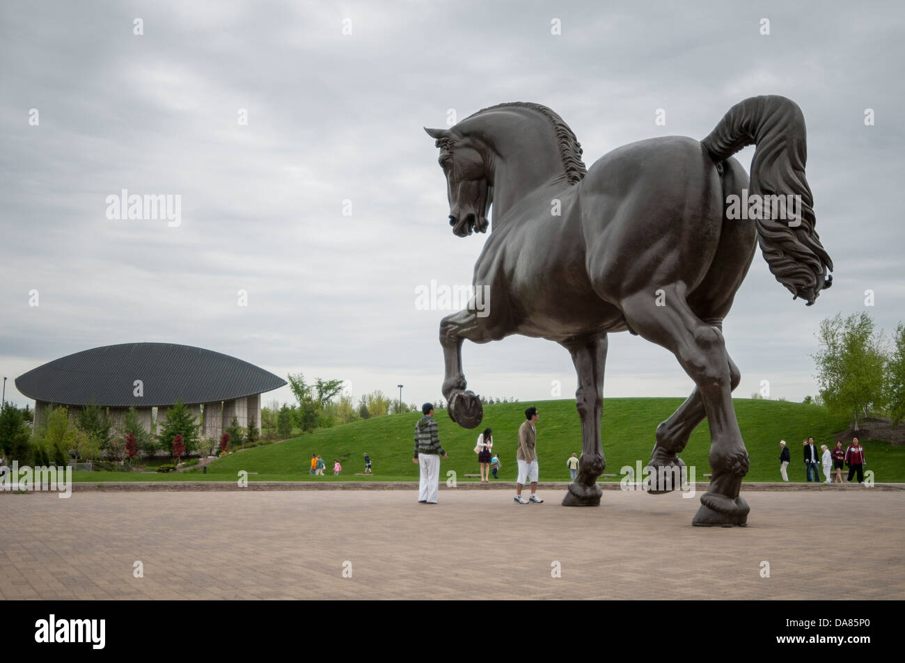 Nina Akamu's The American Horse, at Frederik Meijer Gardens and Sculpture Park, Grand Rapids, Michigan, United - Stock Image