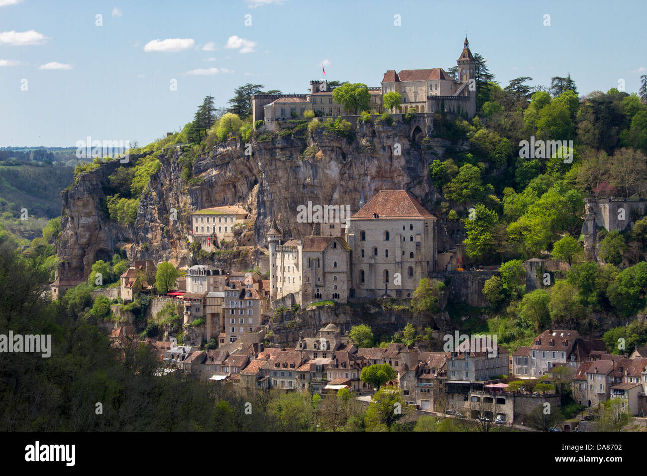 Dramatic view of Rocamadour sanctuaries built into the cliff, tourist attraction in Midi-Pyrenees region of France - Stock Image