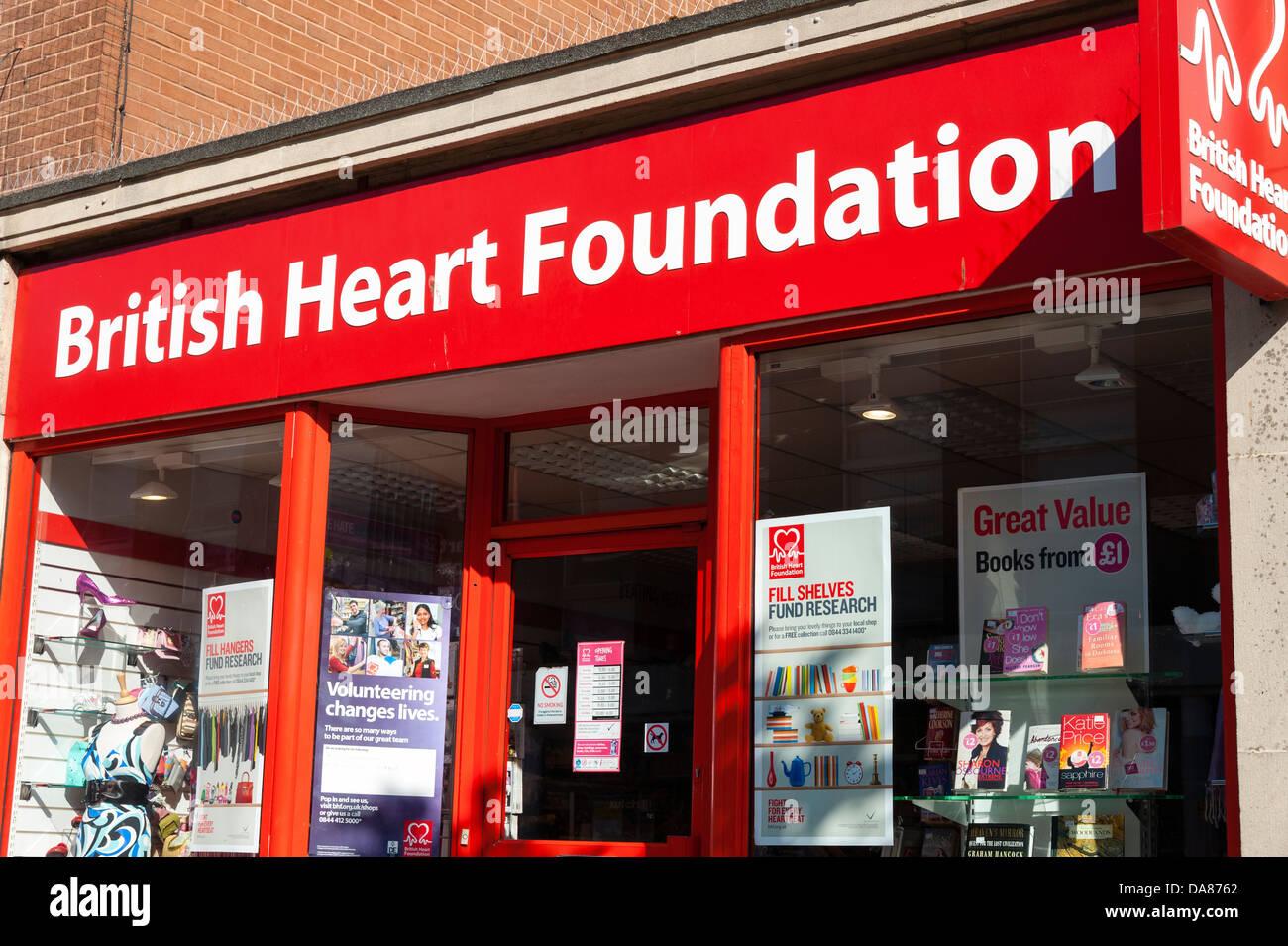 British Heart Foundation charity shop, UK. - Stock Image