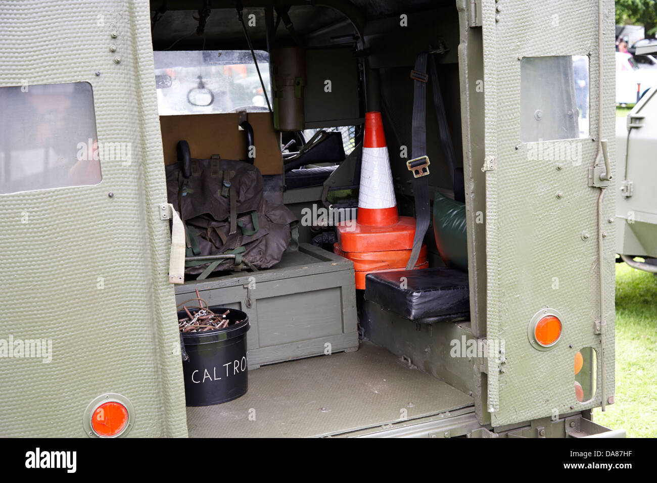 rear of vintage british army udr landrover military vehicles on display county down northern ireland uk - Stock Image