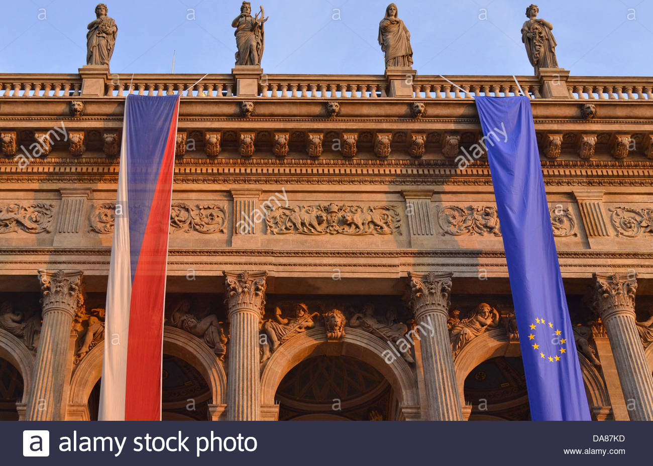 National Theater building in Prague with Czech and European Union flags - Stock Image