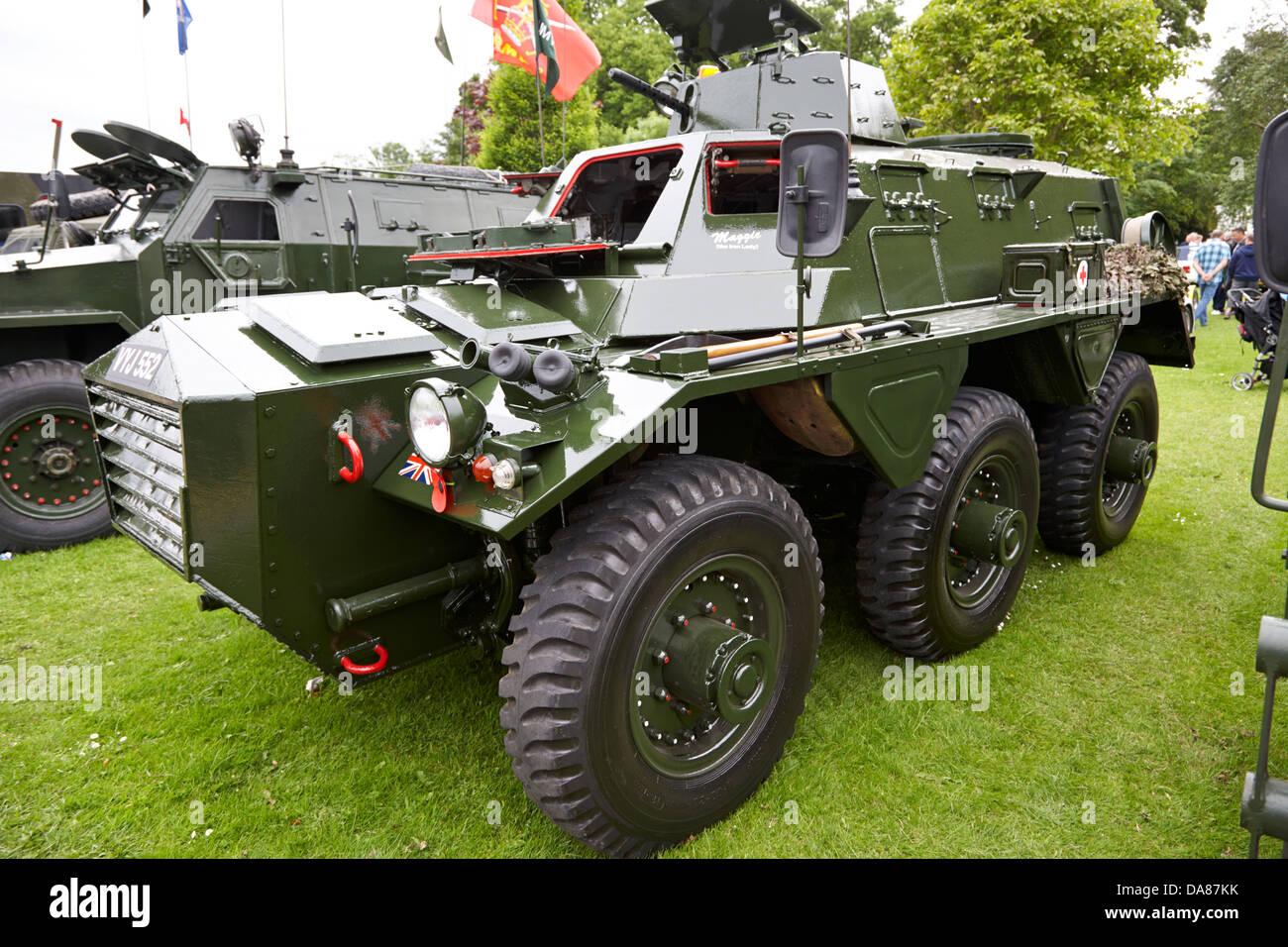 alvis saracen vintage british army military vehicles on display county down northern ireland uk - Stock Image