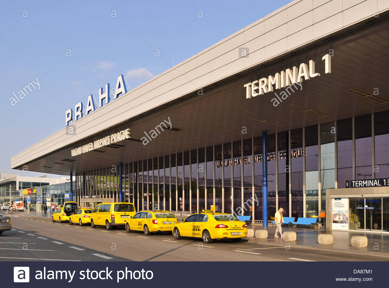 Vaclav Havel Airport (Ruzyně International Airport ) in Prague Czech Republic - Yellow AAA cabs outside terminal - Stock Image