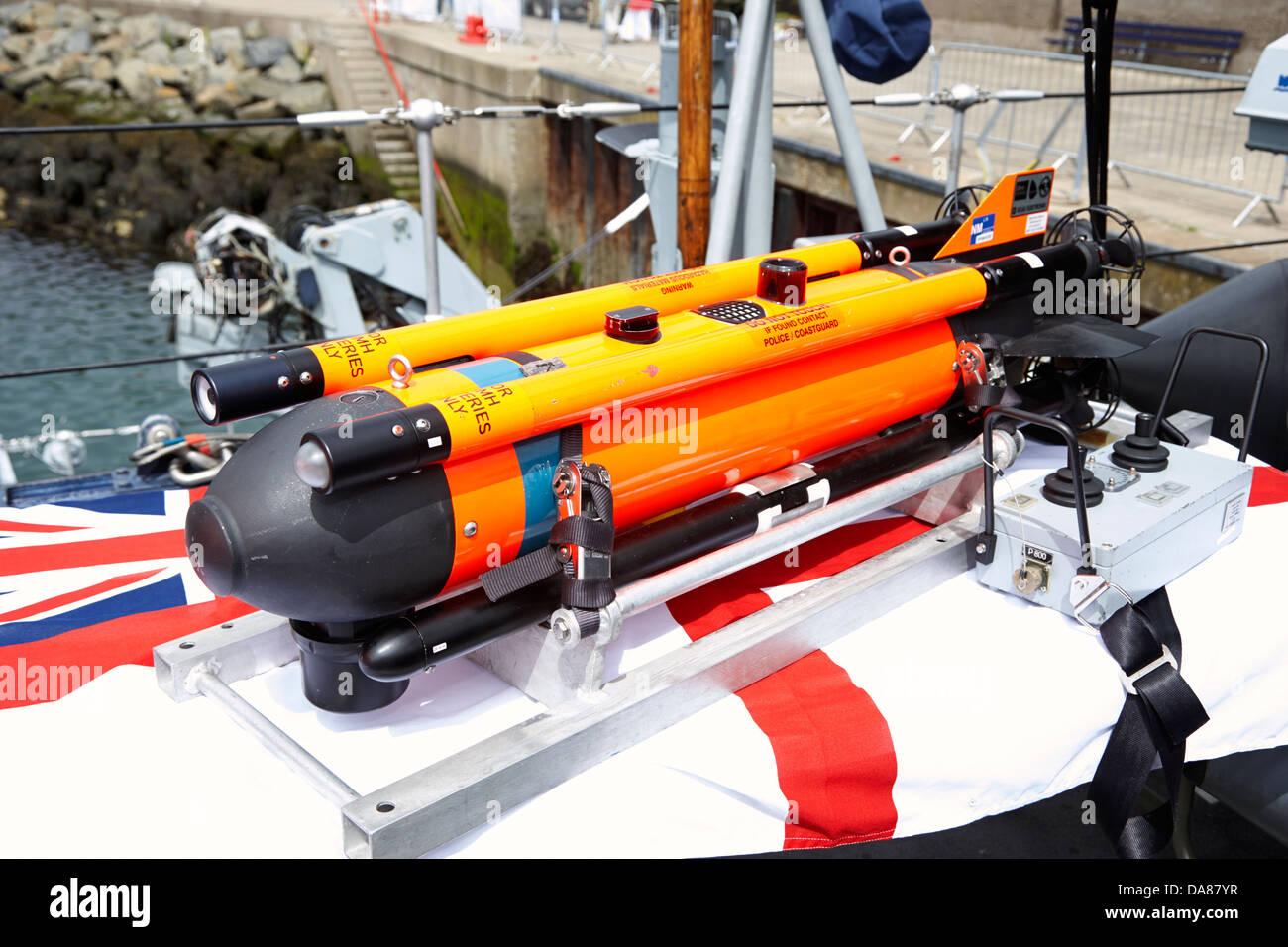 sea fox mine disposal system on board royal navy minehunter - Stock Image