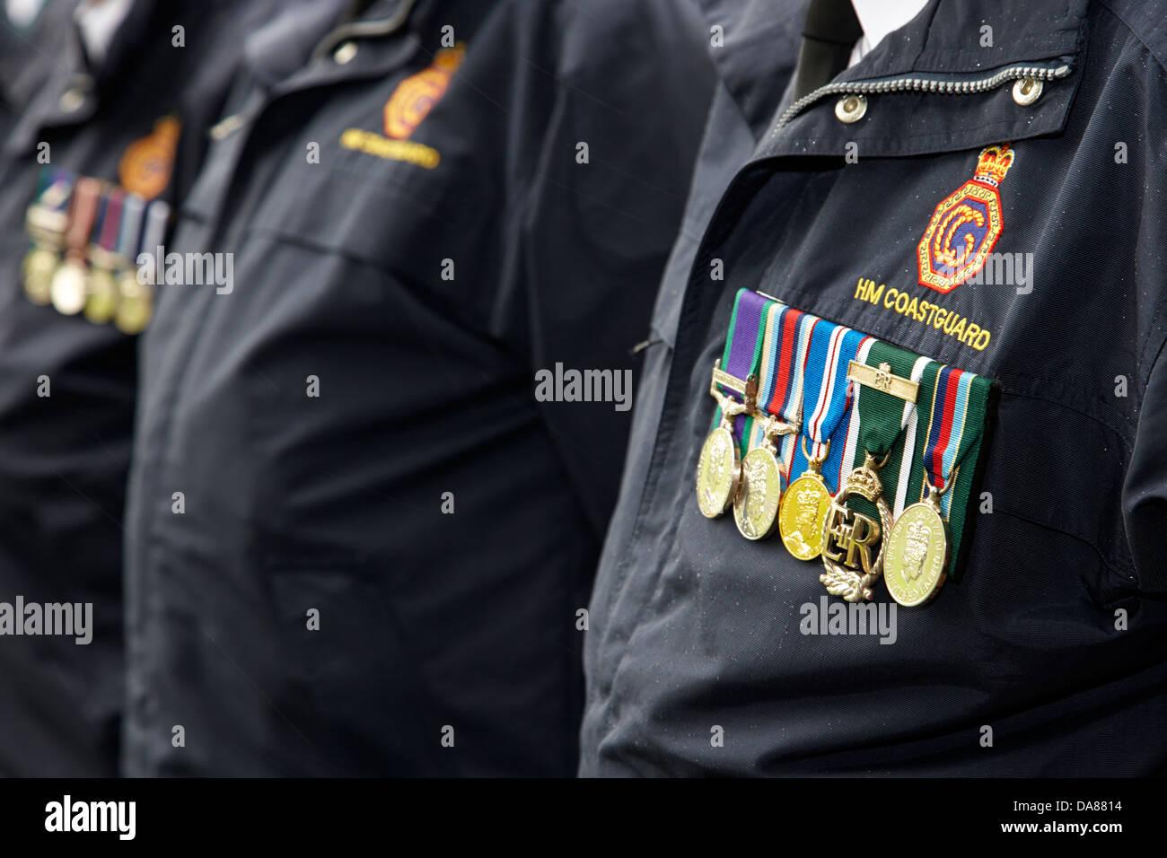 hm coastguard veterans at a memorial service in county down northern ireland uk - Stock Image