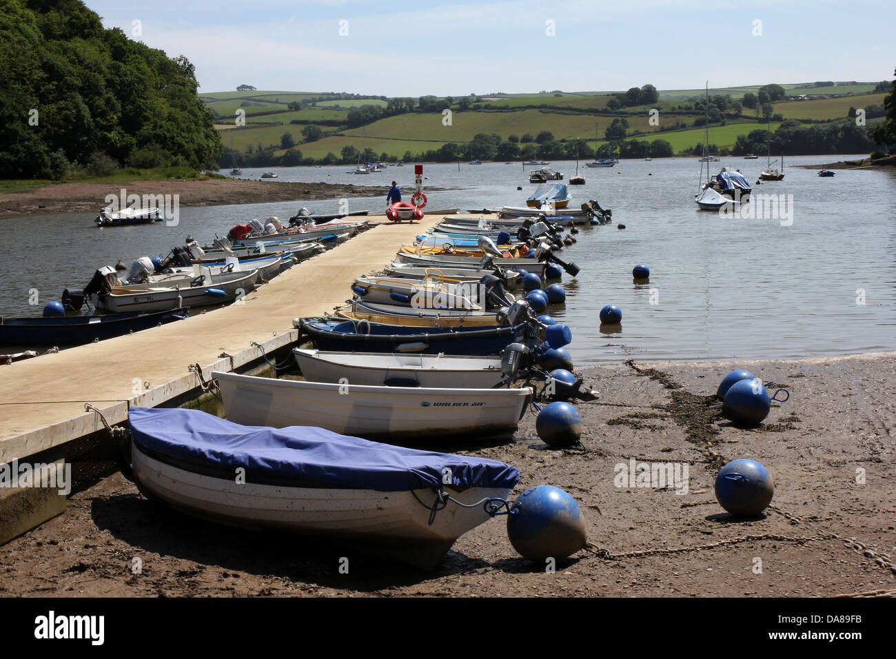 Stoke Gabriel Devon,river Dart,launching boat,defra,the environment, rural development, the countryside, wildlife, - Stock Image