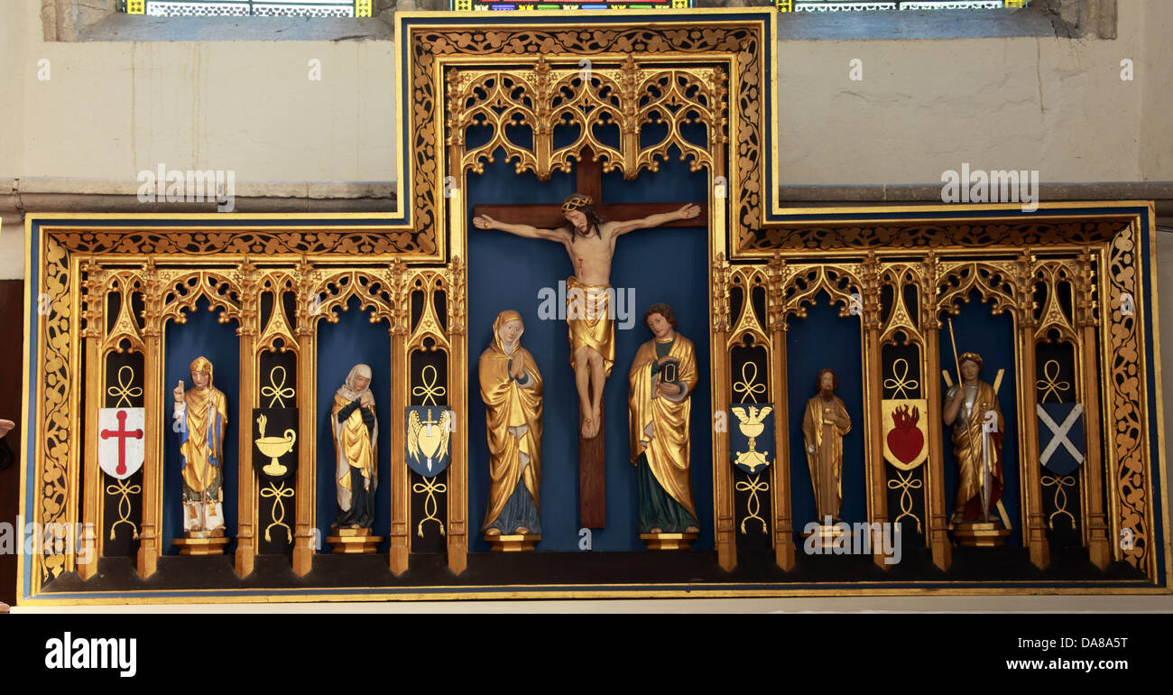 Altar art detail from lady chapel of St Peter & St Paul, parish church, Dorchester on Thames, England, UK - Stock Image
