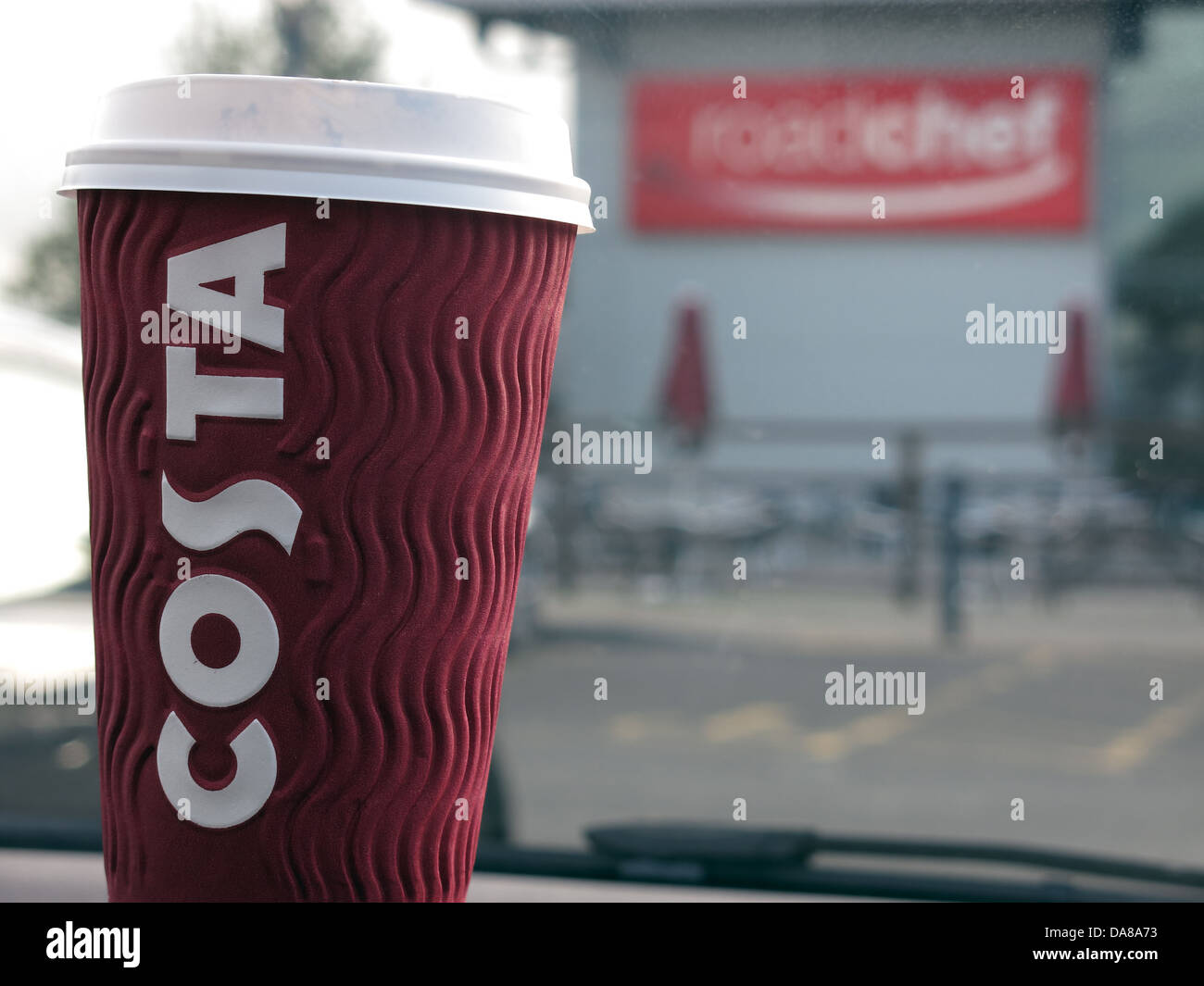 A takeaway cup of Costa coffee at the Roadchef motorway services M5 Strensham southbound - Stock Image
