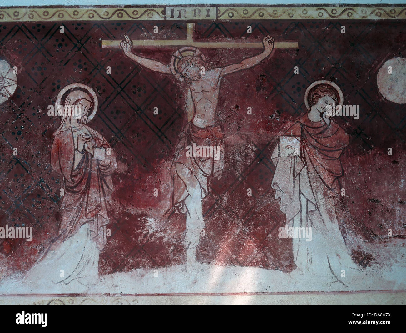 Wall art in Peoples chapel of St Peter & St Paul, parish church, Dorchester on Thames, England, UK - Stock Image