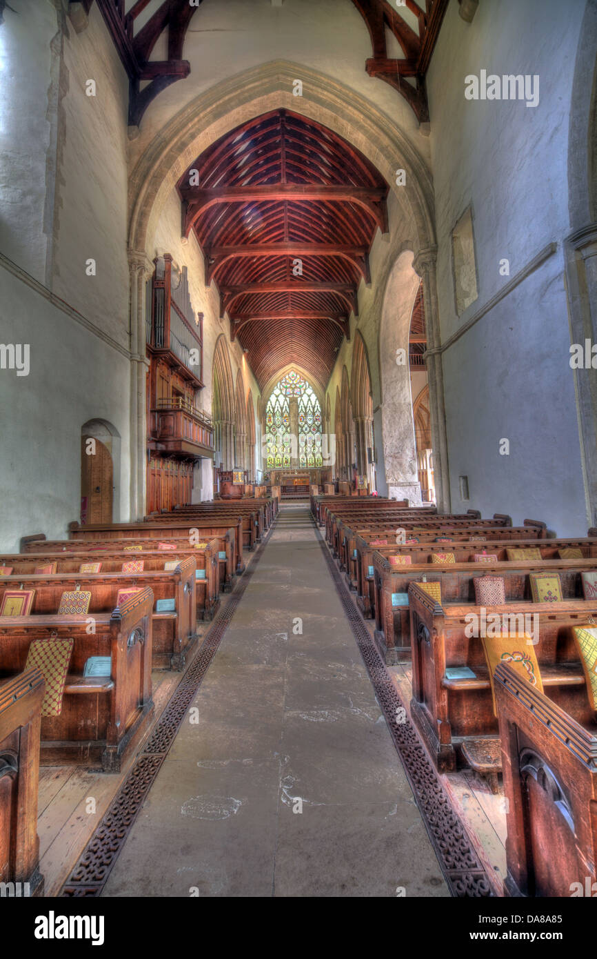 Wide angle shot of main Altar from chapel of St Peter & St Paul, parish church, Dorchester on Thames, England, - Stock Image