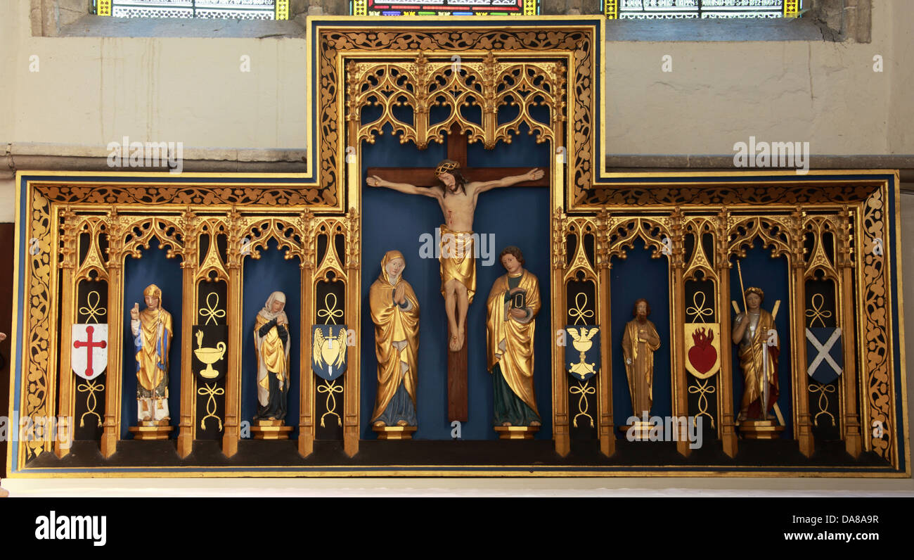 Golden Altar art detail from lady chapel of St Peter & St Paul, parish church, Dorchester on Thames, England, - Stock Image