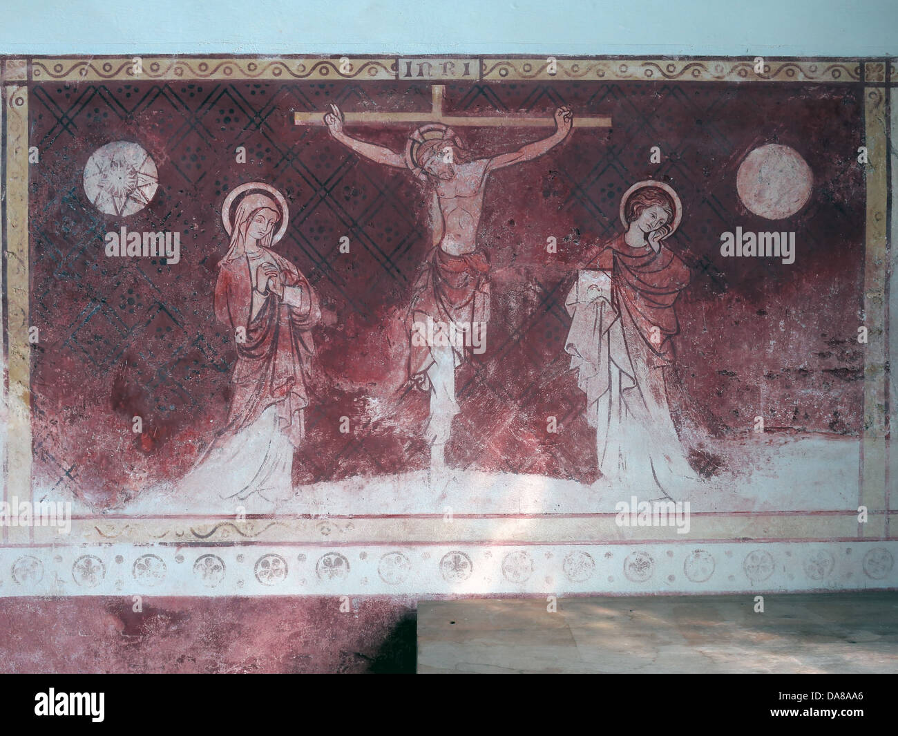 Beautiful Dorchester On Thames Abbey Church of St Peter & St Paul red wall painting - Stock Image