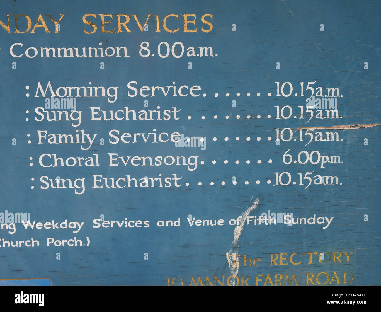 Beautiful Dorchester On Thames Abbey Church of St Peter & St Paul services board detail - Stock Image