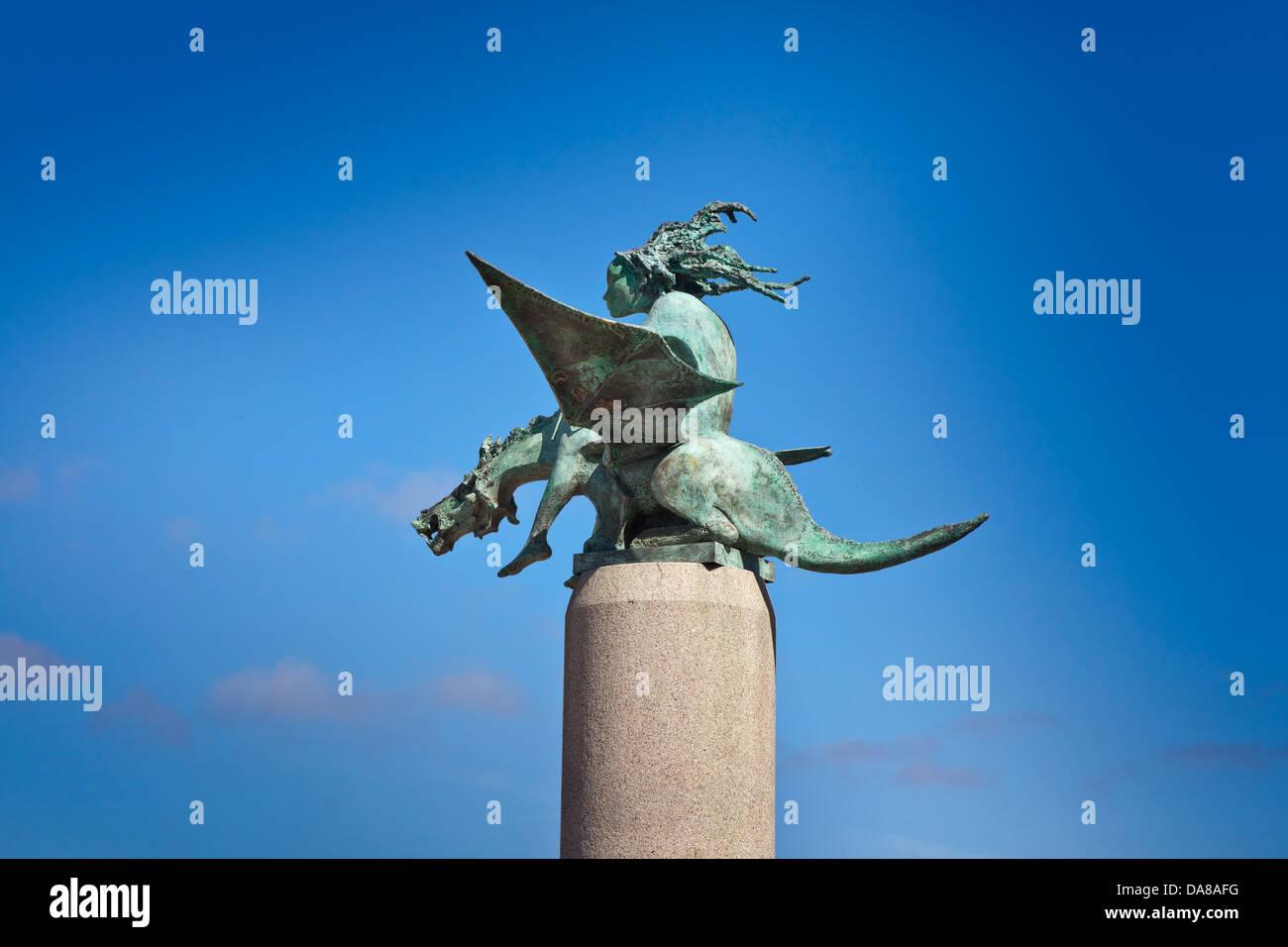 Bronze sculpture of a nymph riding a dragon, Vigo, Galicia, Spain Stock Photo