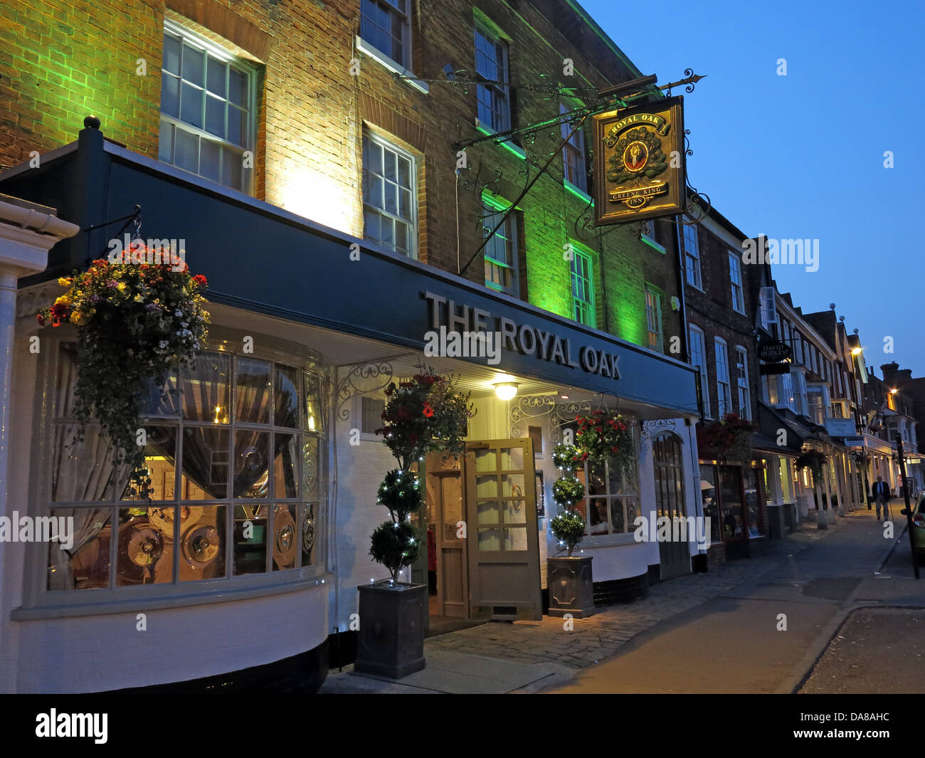 The Royal Oak pub in Marlborough , Wiltshire , SW England at dusk Stock Photo