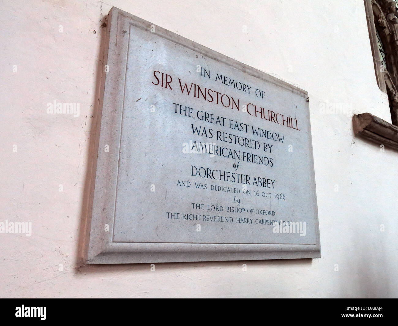 Beautiful Dorchester On Thames Abbey Church of St Peter & St Paul Winston Churchill plaque - Stock Image