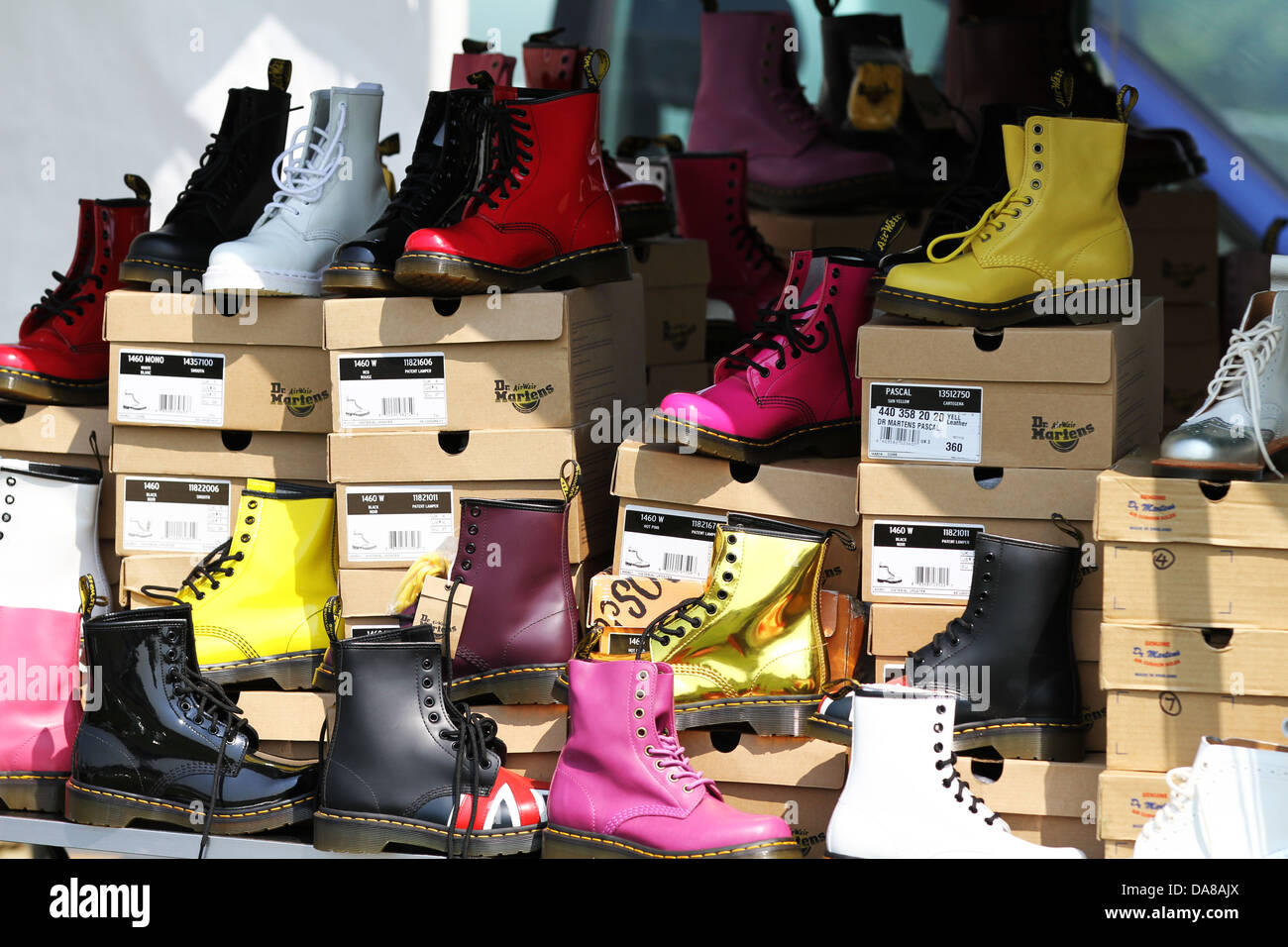 a5b0bc93a783 Dr Martens Boots - Brightly Coloured Classic Doc Martin s - Fashionable  Boots DMs - Stock Image