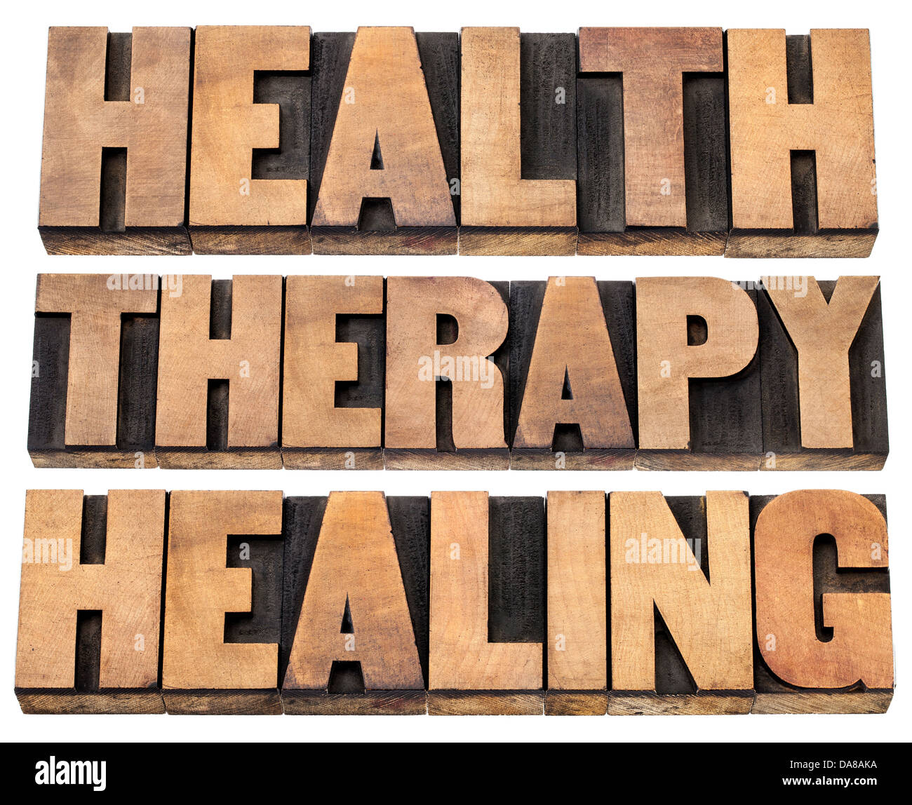 health, therapy and healing words - a collage of isolated text in vintage letterpress wood type printing blocks - Stock Image