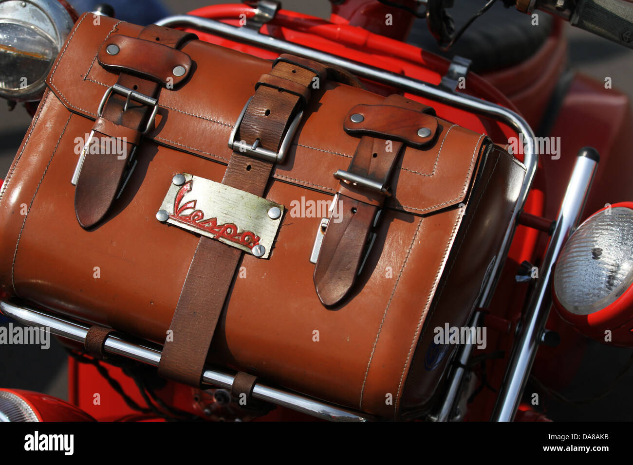 Vespa Scooter Italian Mod Style Culture Original 1960s Motor Scooter Luggage from Italy - Stock Image
