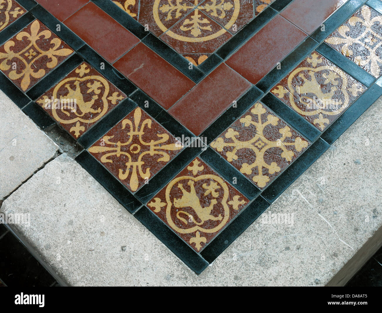 Beautiful Dorchester On Thames Abbey Church of St Peter & St Paul Tile detail - Stock Image