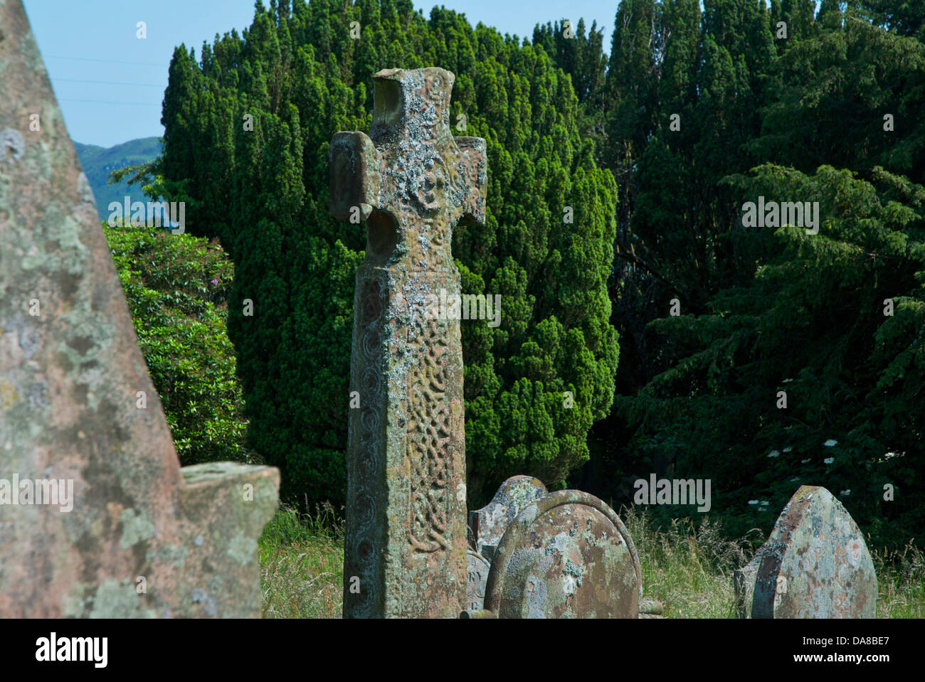The 9th century cross at St Paul's Church, Irton, near Eskdale Green, West Cumbria, England UK - Stock Image