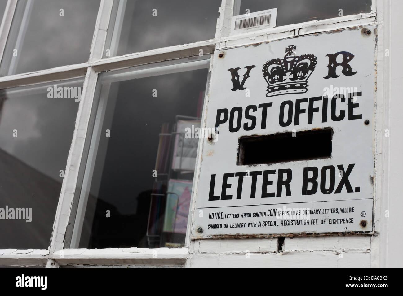 Blanchland post office, Northumberland.  One of only 3 Victorian post boxes in the UK is located here. Stock Photo