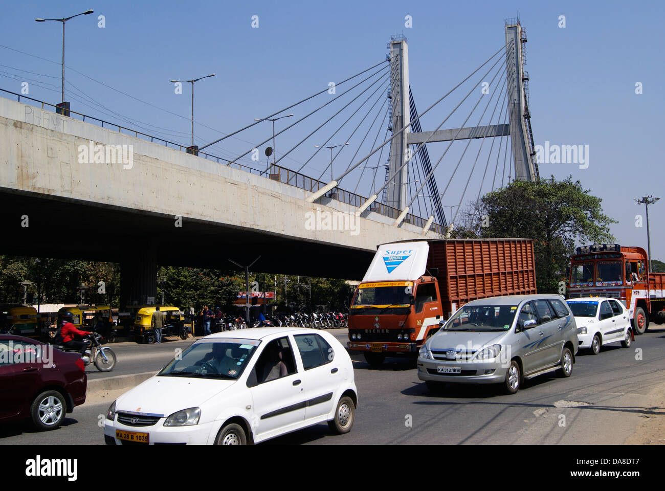 Cable Stayed Road Flyover Bridge In Krishnarajapuram Kr Puram And Stock Photo Alamy