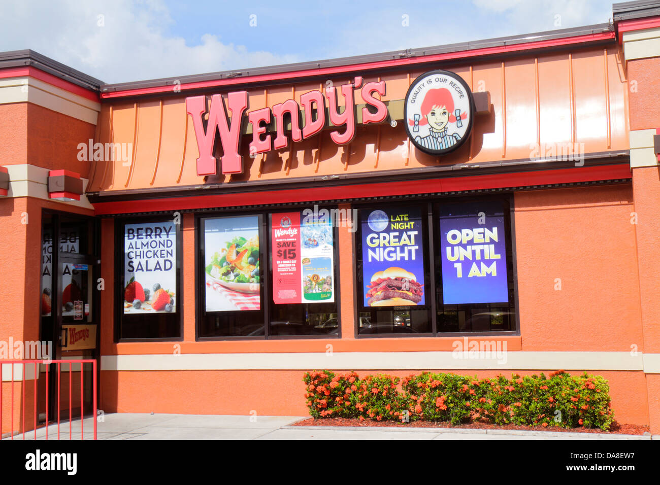 Naples Florida Wendy's fast food restaurant outside exterior posters promotions promotion - Stock Image
