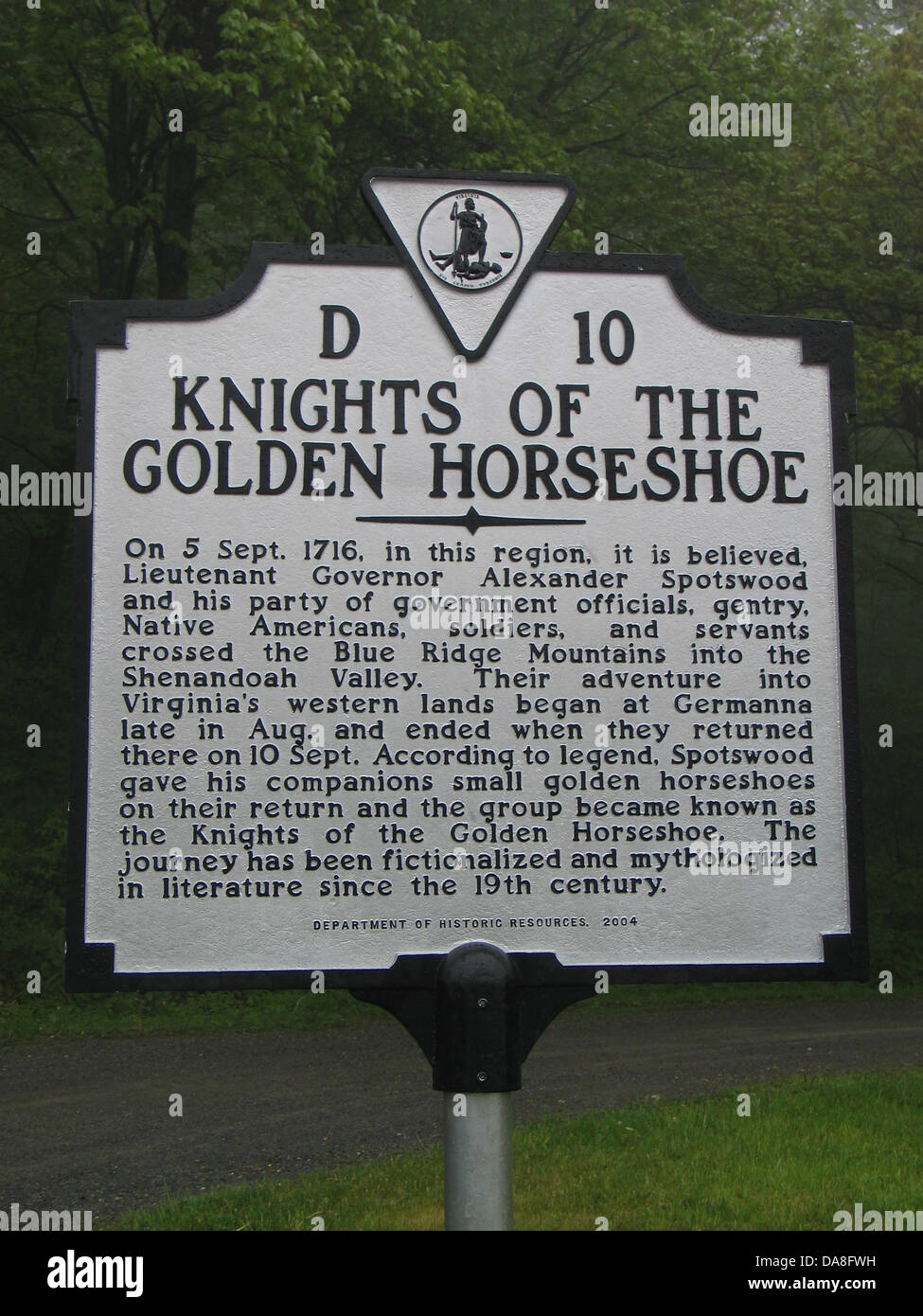 KNIGHTS OF THE GOLDEN HORSESHOE  On 5 Sept. 1716, in this region, it is believed Lieutenant Governor Alexander SpotswoodStock Photo
