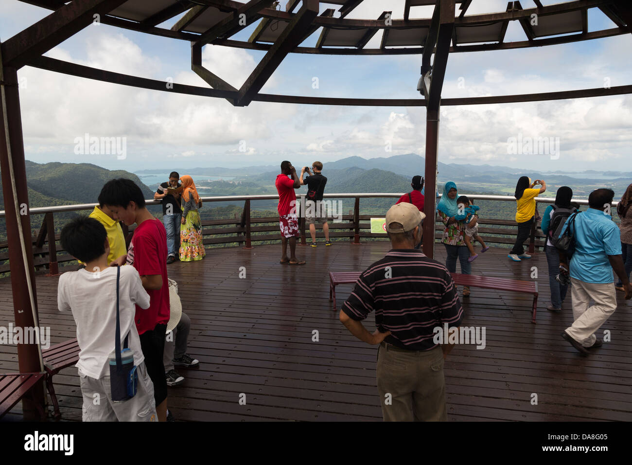 Tourists enjoying the view from the  viewing platform in Langkawi, the main resort island in Malaysia Stock Photo