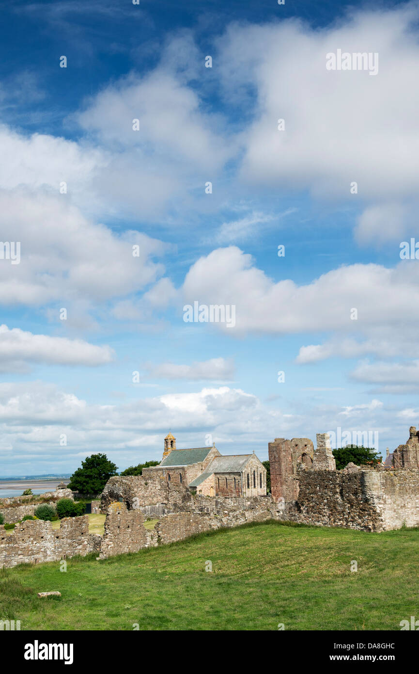 Lindisfarne Parish Church of St.Mary the Virgin behind the Priory on Holy Island, Lindisfarne, Northumberland, England - Stock Image