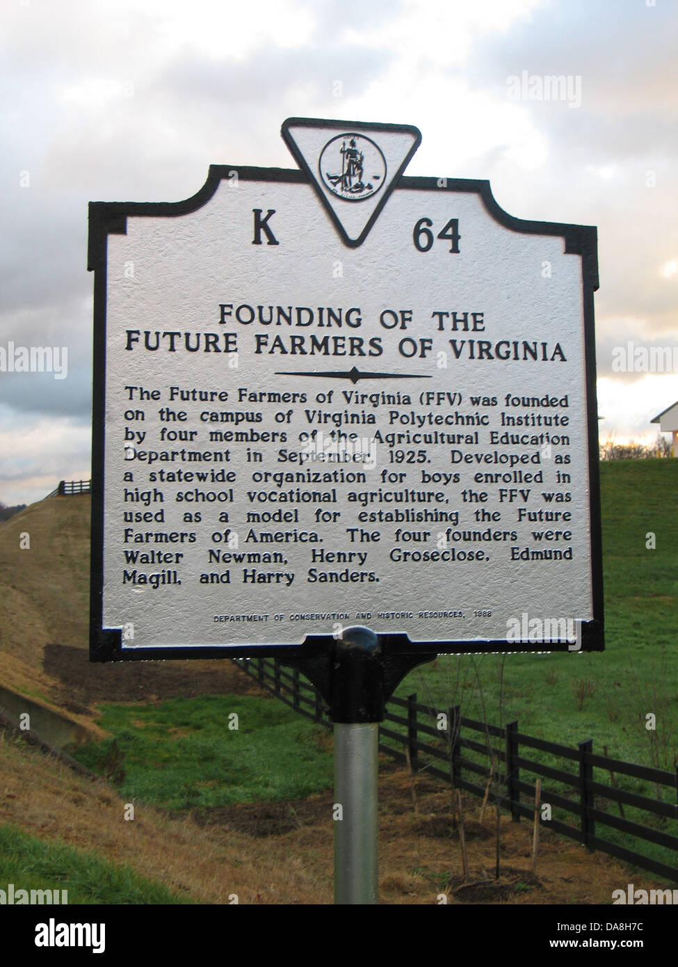 FOUNDING OF THE FUTURE FARMERS OF AMERICA The Future Farmers of Virginia (FFV) was founded on the campus of Virginia - Stock Image